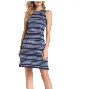 Eliza J stripe racerback lace dress - blue/navy